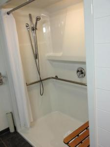 Beautiful Wheel-In Shower With Built-In Shower Bench