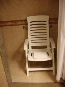 Wheel-in Shower, No Shower Bench - We Used a Deck Chair and it Worked Out Fine