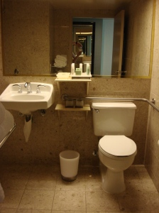 Wheel-Under Sink and Toilet with Grab Bars