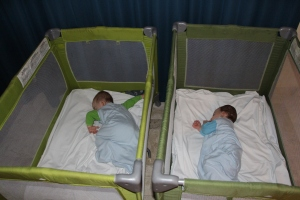 Playpens for the Twins Were Hard and Dirty - I Was Very Happy That I Brought My Own Sheets