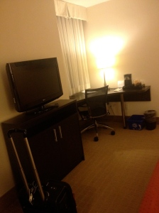 Desk and TV in Regular Room