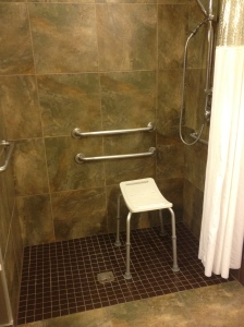 Wheel-In Shower with Portable Shower Bench