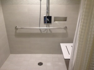Wheel-In Shower With Built-In Shower Bench